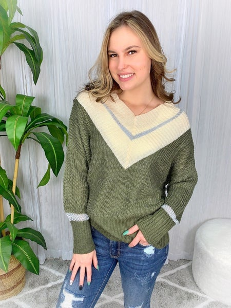 """""""AND THE WHY"""" - COLOR BLOCK V-NECK SWEATER"""