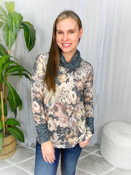 FLORAL COWL-NECK TOP W/ WAFFLE TRIM DETAIL
