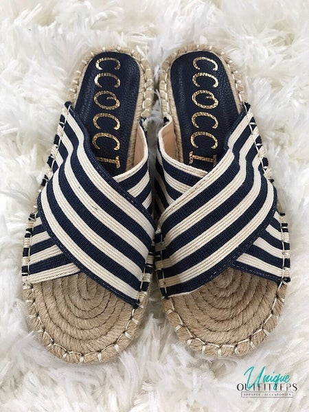 STRIPED CANVAS STRAP SANDAL *Final Sale*