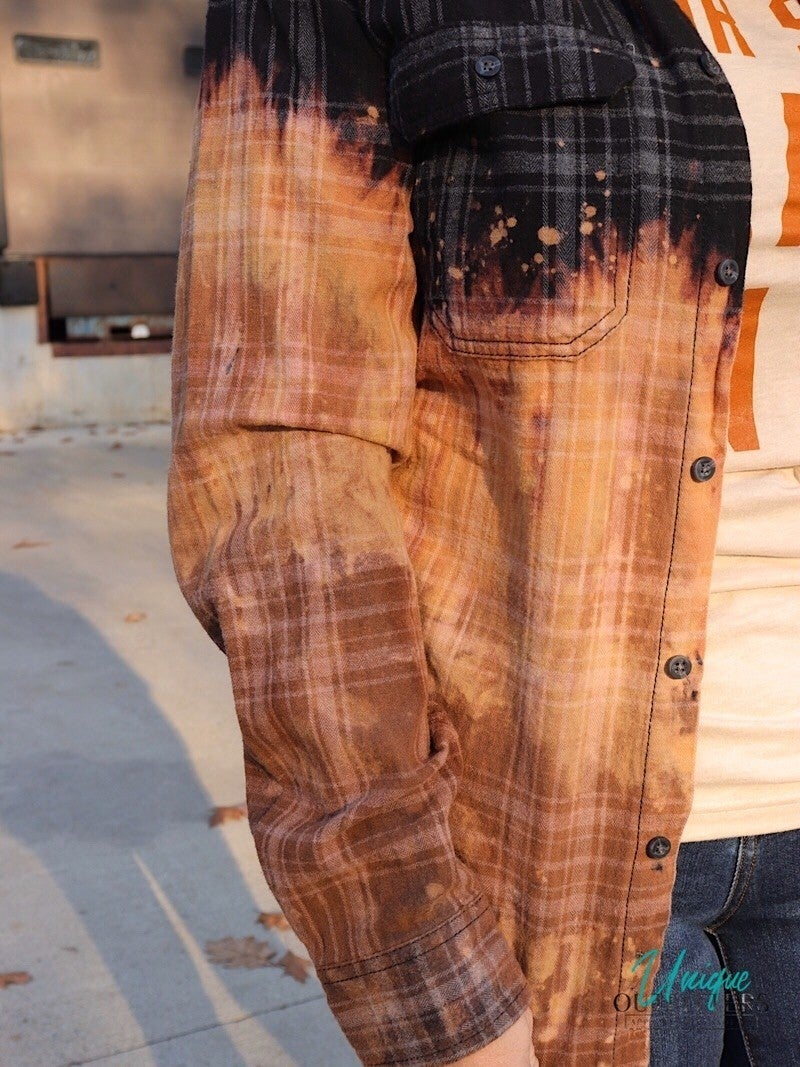 DIRT ON MY BOOTS - BLEACH STAINED FLANNEL BUTTON-DOWN
