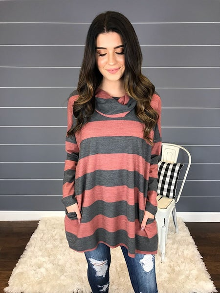 STRIPED COWL NECK TUNIC *Final Sale*