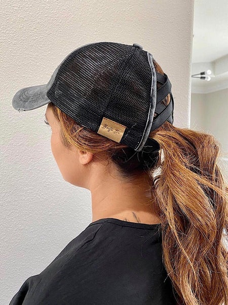 CRISS-CROSS PONYTAIL BASEBALL CAP