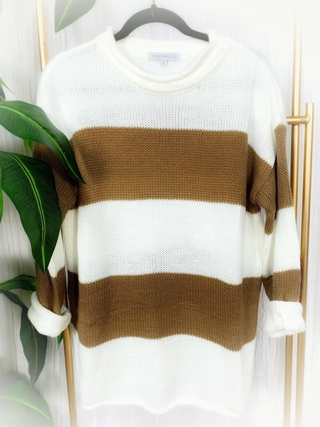 """MISS SPARKLING""  STRIPED CASUAL SWEATER"