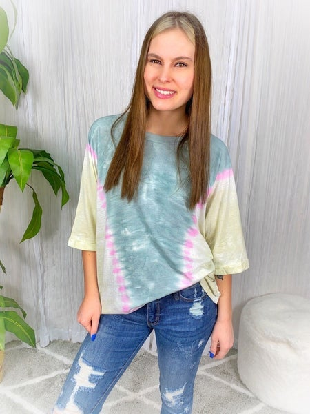 """""""EASEL"""" SPECIAL WASHED  WIDE 3/4 SLEEVE TOP"""