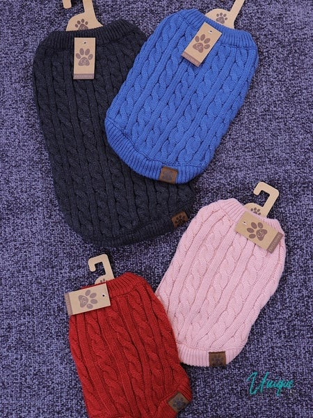 CC BRAND - CABLE KNIT DOG SWEATER