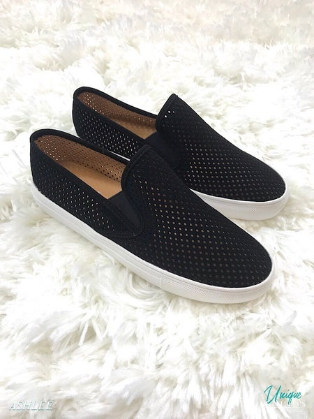 WOMENS PERFORATED LASER CUT SLIP ON SNEAKER *Final Sale*