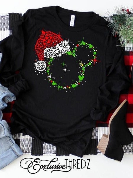CHRISTMAS HAT MICKEY L/S TOP