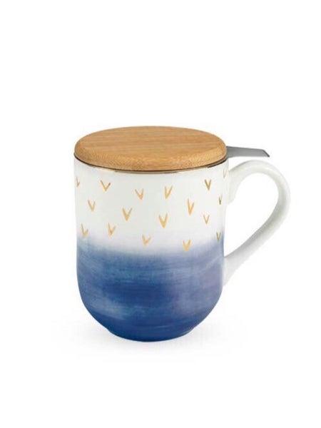 CASEY - BLUE CERAMIC TEA MUG & INFUSER SET