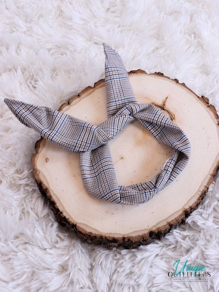 PLAID WIRED FABRIC HEAD BAND TIE