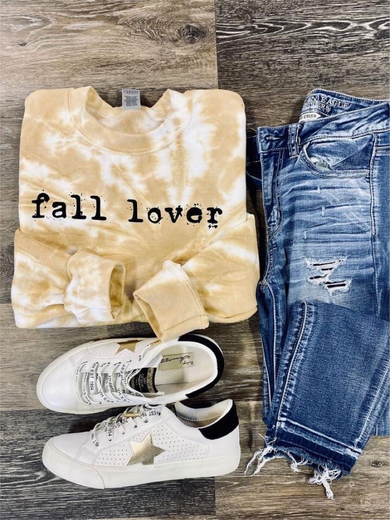 """FALL LOVER"" - BLEACHED GRAPHIC SWEATSHIRT"