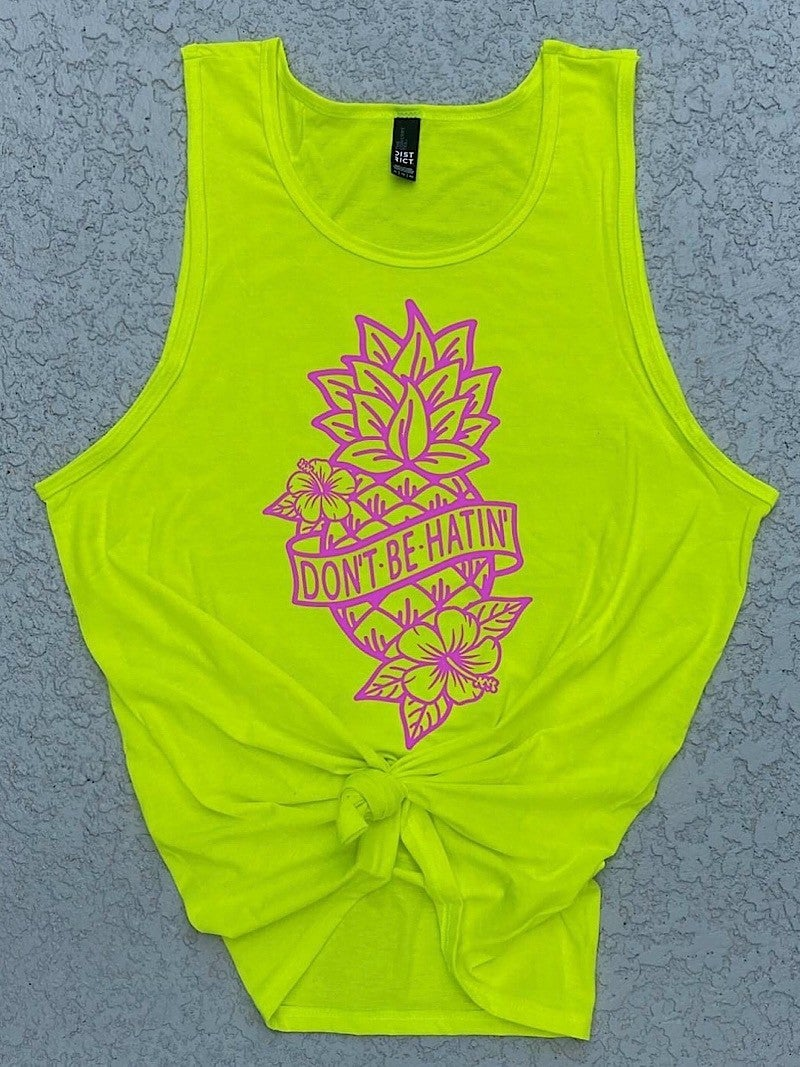 """""""DON'T BE HATIN'"""" NEON GRAPHIC TANK"""