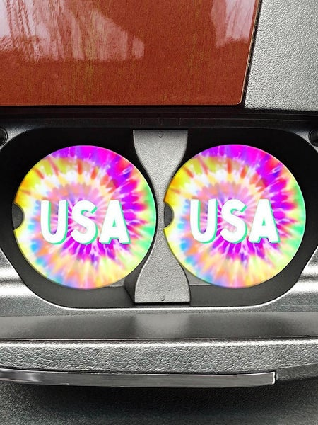 "COASTERS ON THE GO - ""USA"" TIE DYE"