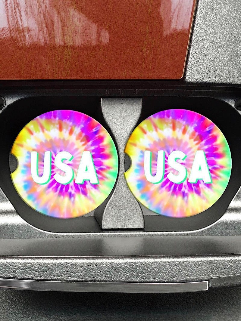 "COASTERS ON THE GO - ""USA"" TIE DYE"