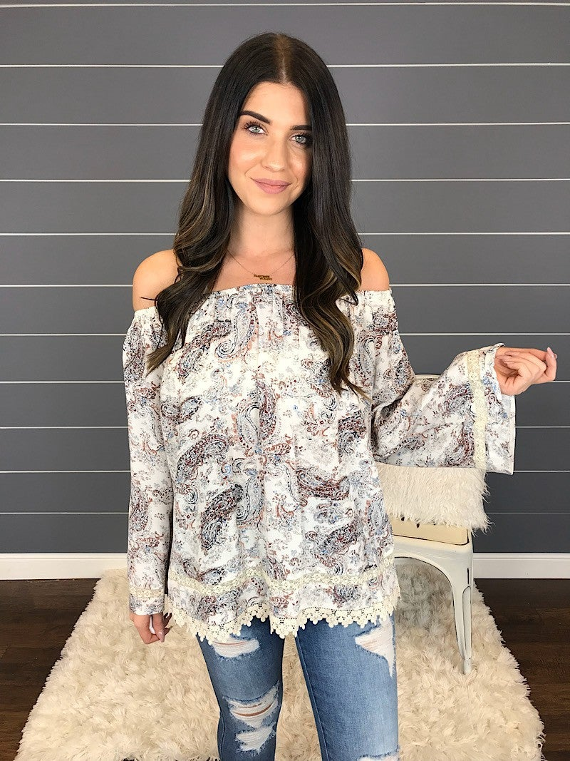 PAISLEY PRINT OFF-SHOULDER BLOUSE