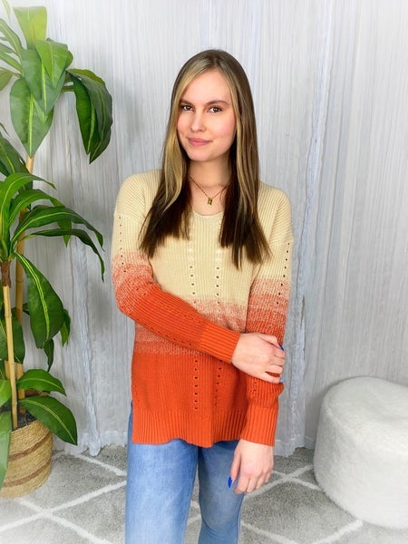 V-NECK TWO TONE SWEATER W/ SIDE SLIT