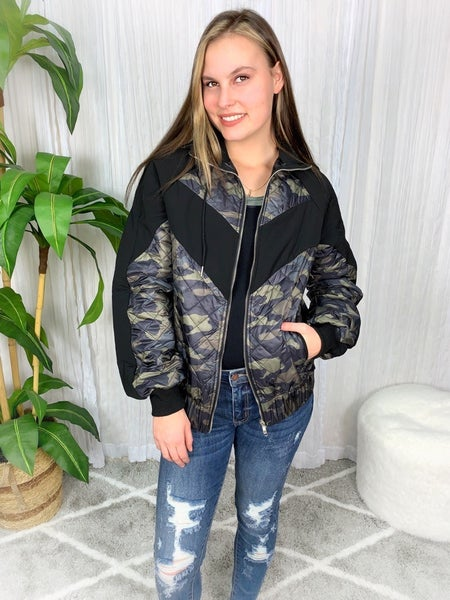 LS CAMOUFLAGE WOVEN QUILTED JACKET