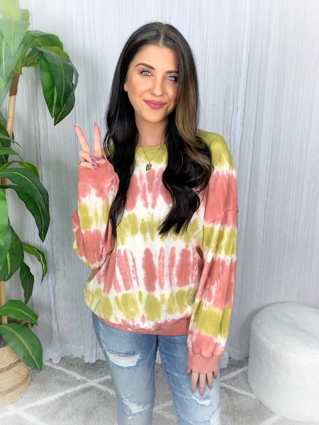TIE DYE TERRY KNIT BANDED PULLOVER