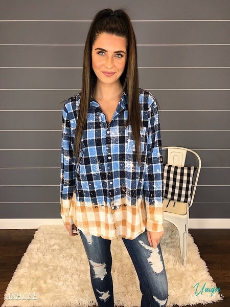 CAROLINA BLUE BLEACHED PLAID BUTTON DOWN *Final Sale*