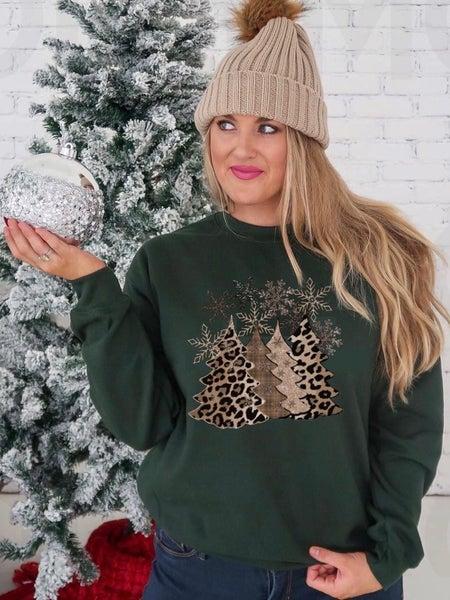 LEOPARD CHRISTMAS TREE PRINT SWEAT SHIRT