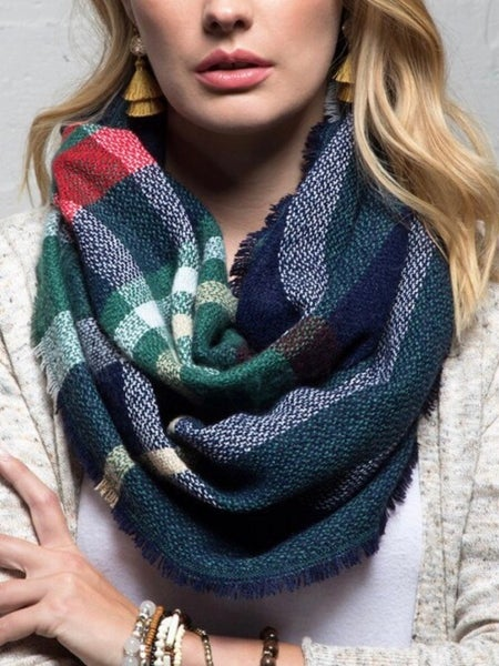 INFINITY SCARF - CASUAL PLAID W/FRINGE