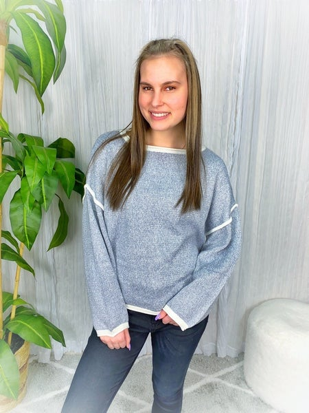 """MISS SPARKLING"" - PULLOVER SWEATER WITH WHITE DETAIL STITCHING"