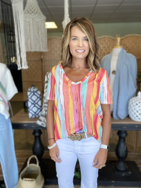 LAST ONE ! The Marlee in coral stripes *Final Sale*