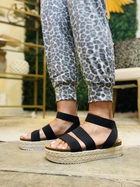 The Jenny in black strappy  platform sandal *Final Sale*