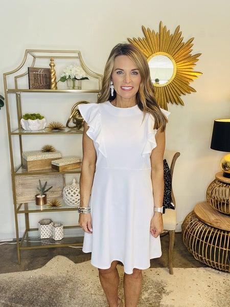 The Gabby in white ruffle dress
