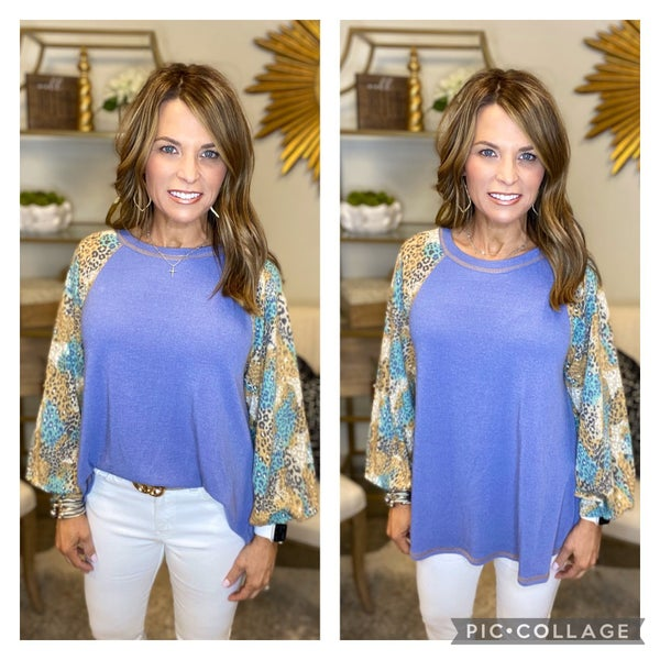LAST ONE SALE !! The Nora in periwinkle mixed sleeve *Final Sale*