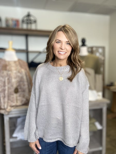 Last one sale ! The Sullivan in ice gray bell sleeve sweater *Final Sale*
