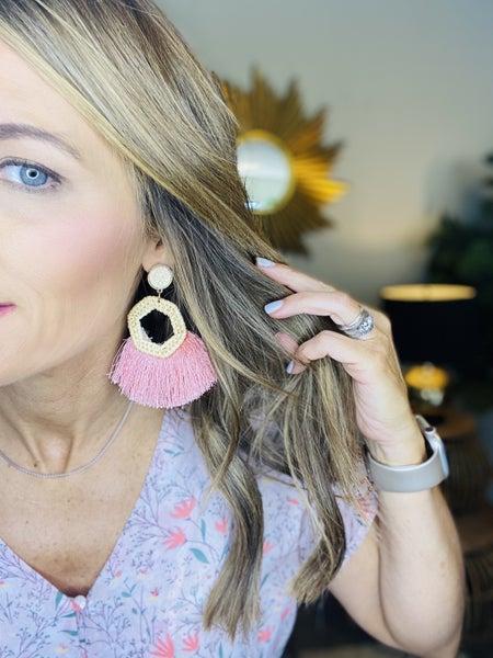Pink rattan and tassel earrings