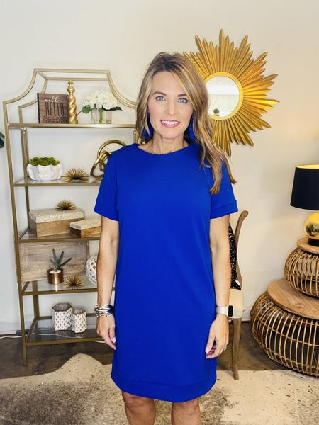 The Macon in royal blue shift dress