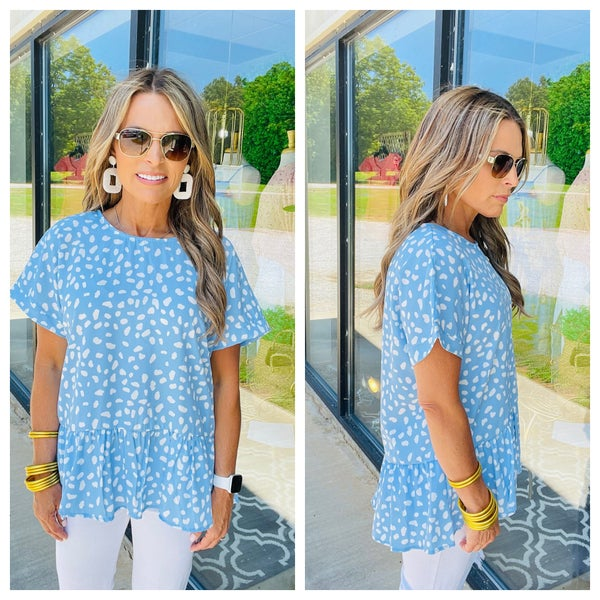 ALL YOU HAVE TO DO LIGHT BLUE TOP *Final Sale*