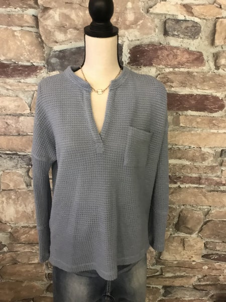 FLASH SALE! CHAMBRAY THERMAL TOP *Final Sale*
