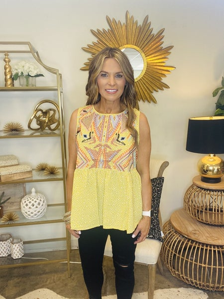 The EC embrodiered tank in yellow