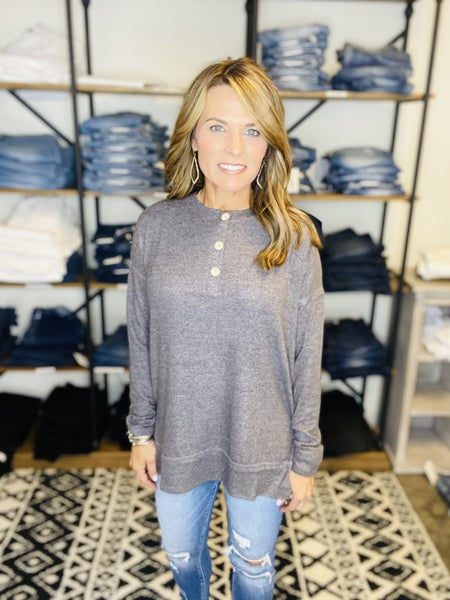 FLASH SALE !! The Dallas in charcoal Henley *Final Sale*