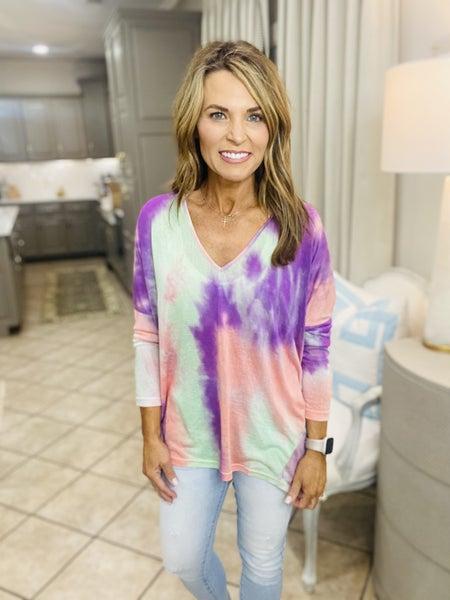 The Ellen in purple tie dye