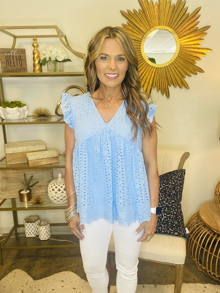 The Mitchell in powder blue crochet top