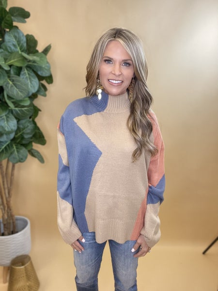 Perfect Vision Taupe/Denim Sweater