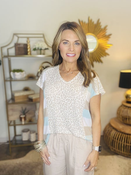 The Andrea top in aqua and taupe