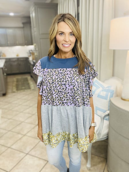 The Geo tunic in blue and lavender