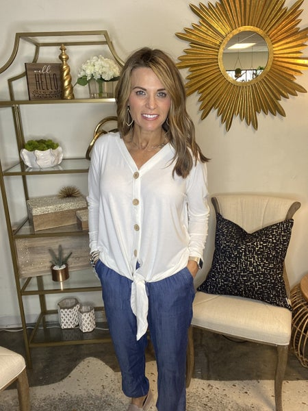 SPRING SALE !! The Cara in ivory button tie top *Final Sale*