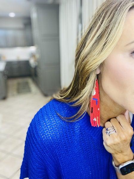 Red and cobalt beaded earrings