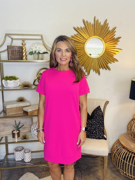 The Macon in hot pink shift dress---SUMMER sALE *Final Sale*