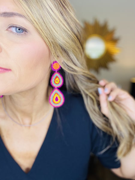 Multicolor tear drop earrings