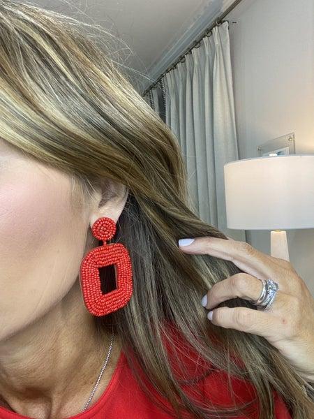 Square red beaded earrings