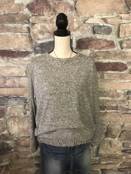 FLASH SALE !! GRAY MARBLED SMOCKED WAIST TOP *Final Sale*