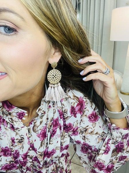 Mauve tassel earrings