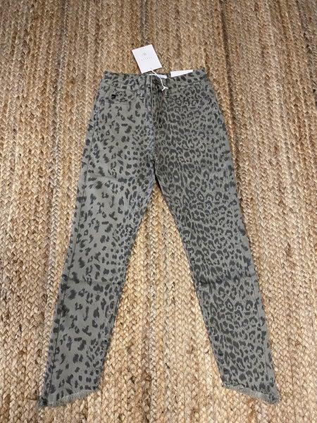 Jean Sale! olive animal print skinny jeans *Final Sale*