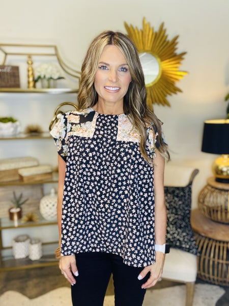 The Clayton top in black mixed print**** FAV